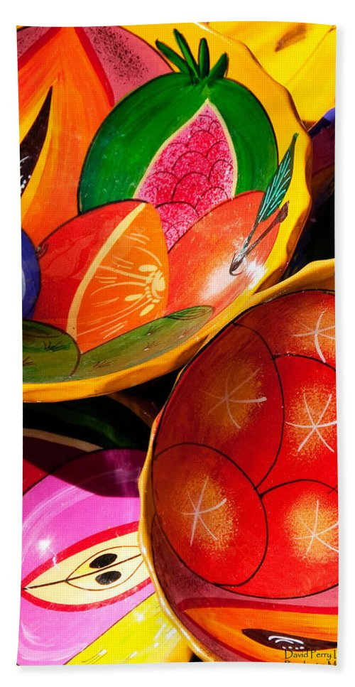Vertical Beach Towel featuring the photograph Brightly Painted Bowls At A Market - Mexico - Travel Photography By David Perry Lawrence by David Perry Lawrence
