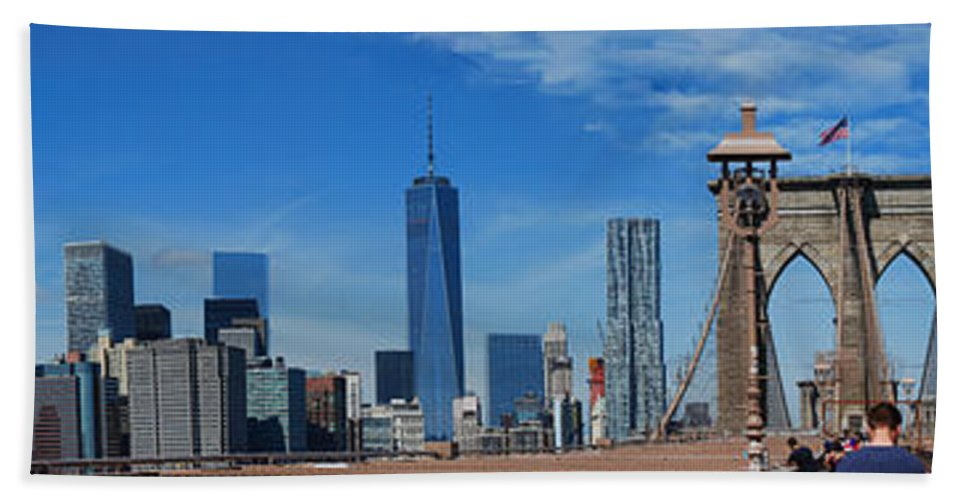 Wright Beach Towel featuring the photograph Brooklyn Bridge And Lower Manhattan by Paulette B Wright