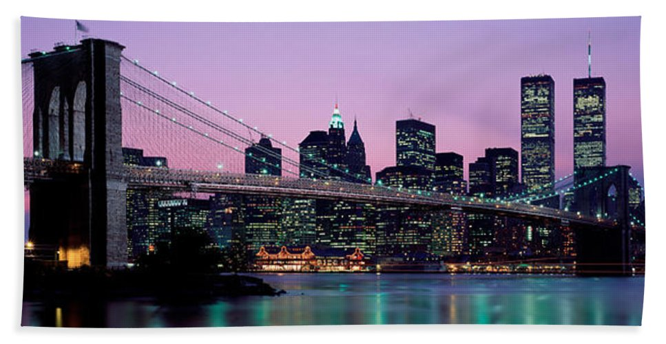 Photography Beach Towel featuring the photograph Brooklyn Bridge New York Ny Usa by Panoramic Images