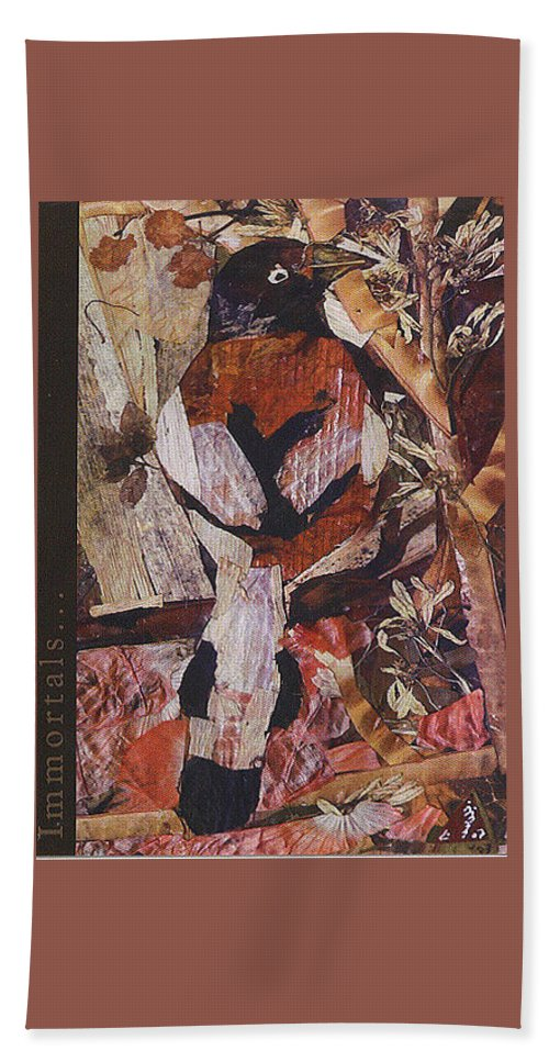 Brown-white-bird Beach Towel featuring the mixed media Brown- White Bird by Basant Soni