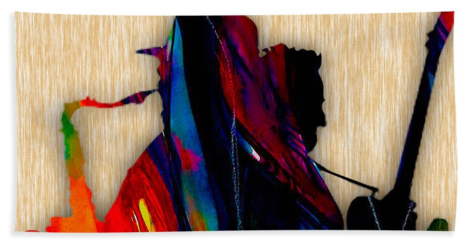 Bruce Springsteen Art Beach Towel featuring the mixed media Bruce Springsteen and Clarence Clemons by Marvin Blaine