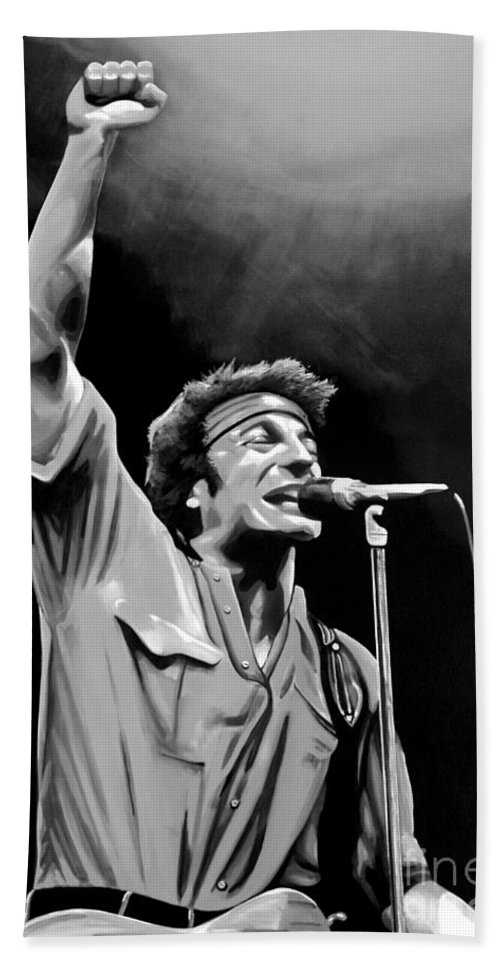 Bruce Springsteen Beach Towel featuring the mixed media Bruce Springsteen by Meijering Manupix