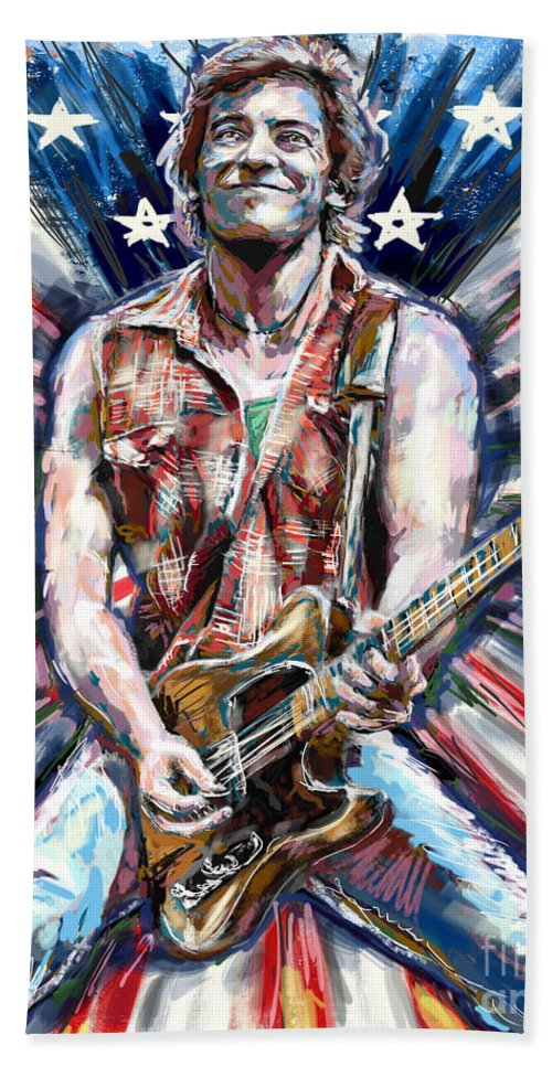 Usa Home Decor Beach Towel featuring the mixed media Bruce Springsteen Painting by Ryan Rock Artist