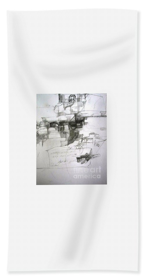 Torah Beach Towel featuring the drawing bSeter Elyion by David Baruch Wolk