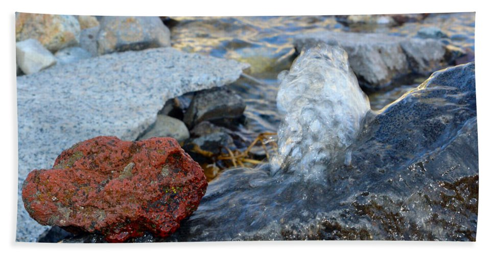 Water Beach Towel featuring the photograph Bubbling Rocks by Brent Dolliver