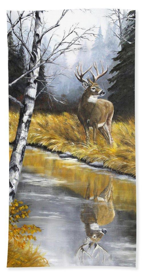 Wildlife Beach Towel featuring the painting Buck Reflection by Johanna Lerwick