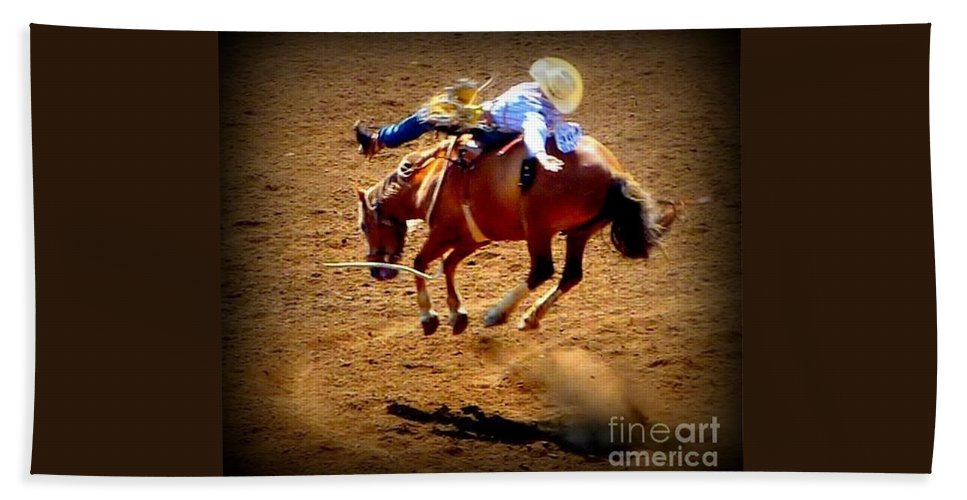 Horses Beach Towel featuring the photograph Bucking Broncos Rodeo Time by Susan Garren