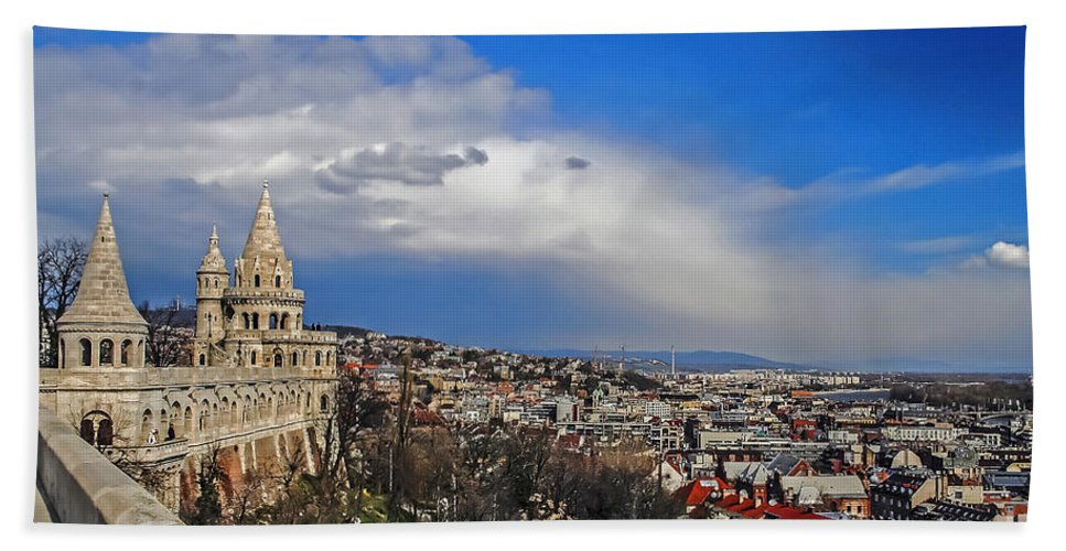 Travel Beach Towel featuring the photograph Budapest And Fisherman's Bastion by Elvis Vaughn