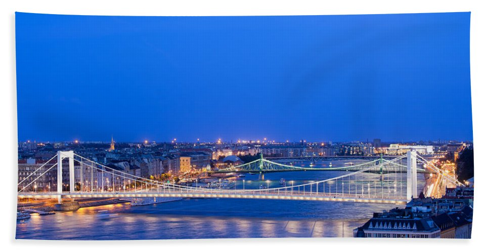 Budapest Beach Towel featuring the photograph Budapest At Dusk by Artur Bogacki