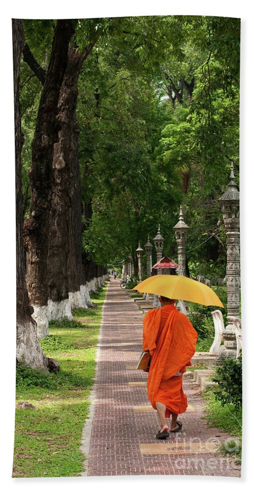 Cambodia Beach Towel featuring the photograph Buddhist Monk 01 by Rick Piper Photography