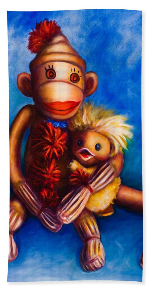 Sock Monkeys Brown Beach Sheet featuring the painting Buddies by Shannon Grissom