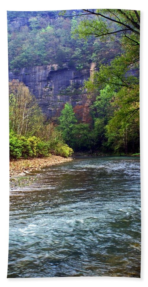 Buffalo National River Beach Towel featuring the photograph Buffalo River Downstream by Marty Koch