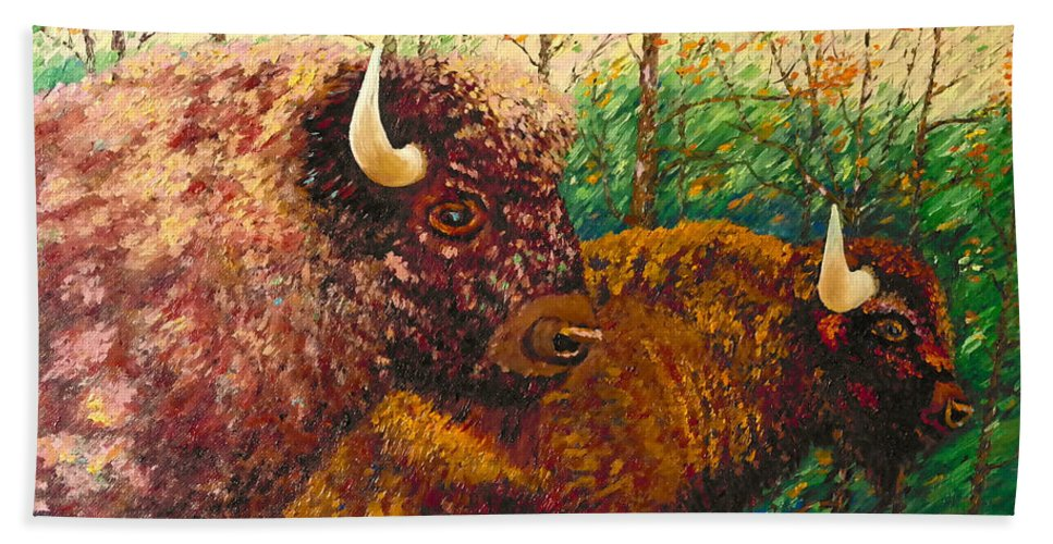Buffaloes Beach Towel featuring the painting Buffaloes by Francesca Kee