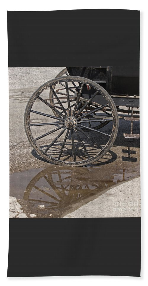Amish Beach Towel featuring the photograph Buggy Wheels by Ann Horn