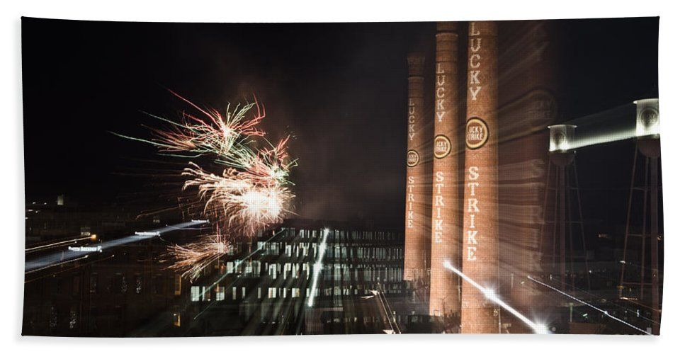 Bulls Beach Towel featuring the photograph Bull Durham Fireworks Zoom by Jh Photos