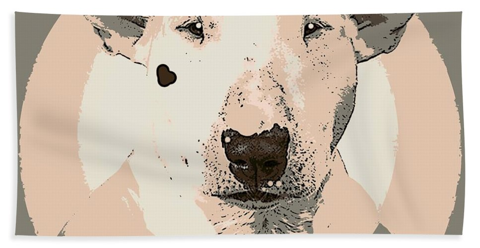 Dog Beach Towel featuring the painting Bull Terrier Graphic 1 by George Pedro