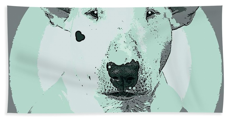 Dog Beach Towel featuring the painting Bull Terrier Graphic 3 by George Pedro