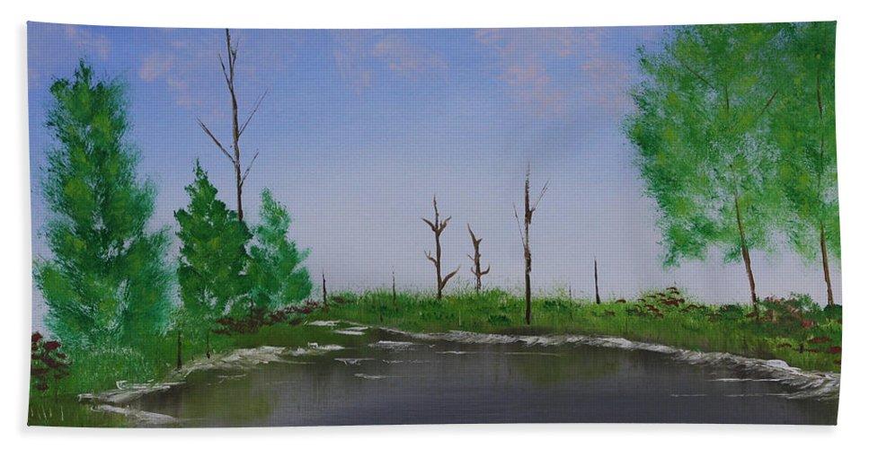 Ocean Beach Towel featuring the painting Bullfrog Reservoir by Jennifer Muller