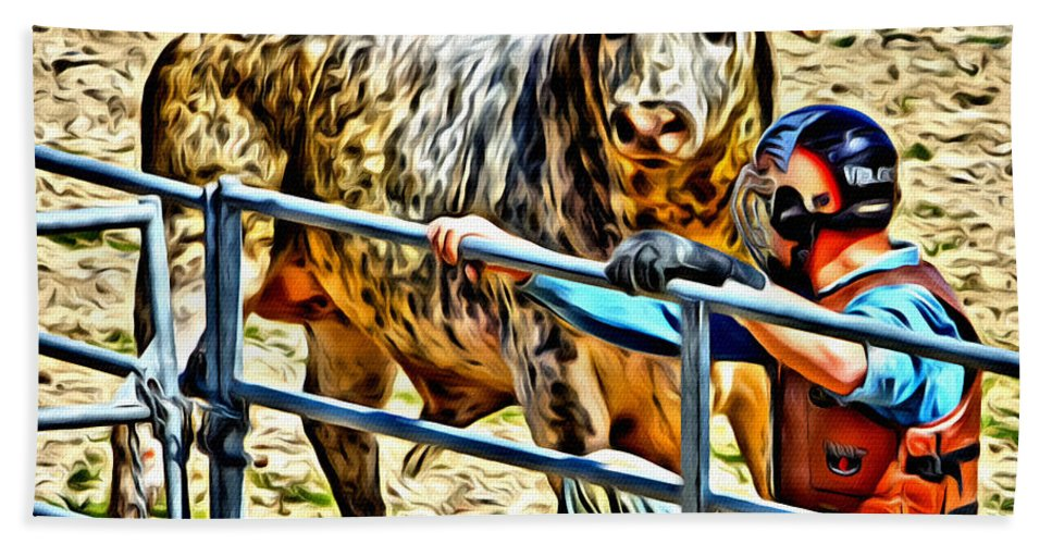 Bull Beach Towel featuring the photograph Bullrider And His Bull by Alice Gipson
