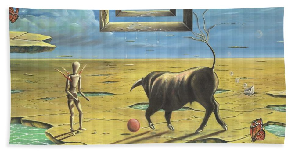 Bull Beach Towel featuring the painting Bull's Playground by Teresa Gostanza