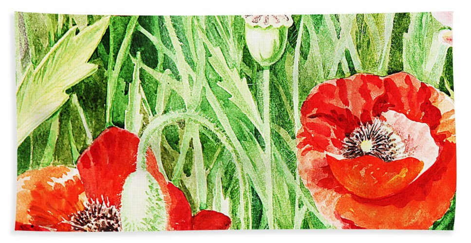 Poppies Beach Towel featuring the painting Bunch Of Poppies IIi by Irina Sztukowski