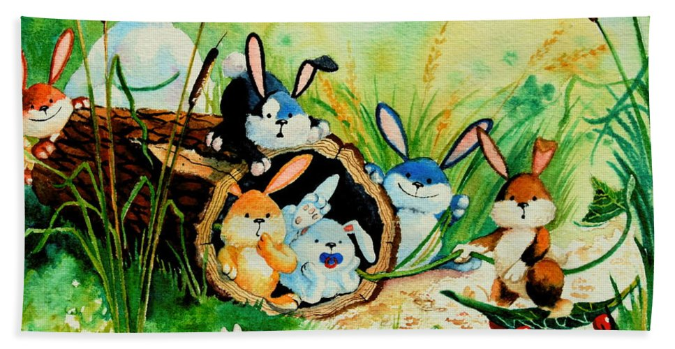Bunny Illustrations Beach Towel featuring the painting Bunnies Log And Frog by Hanne Lore Koehler