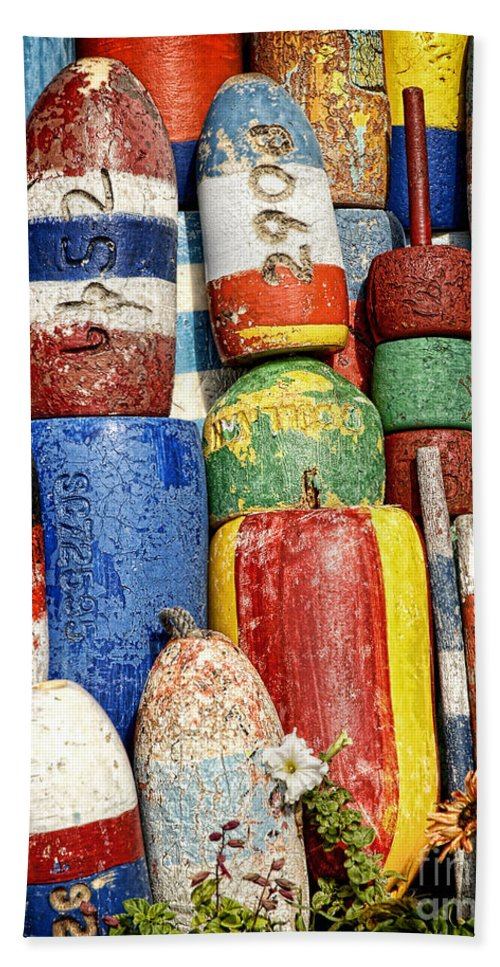 Buoys Beach Towel featuring the photograph Buoys by Claudia Kuhn