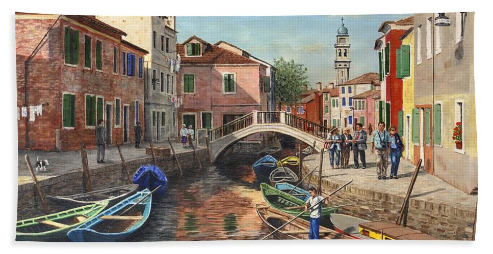 Landscape Beach Towel featuring the painting Burano Canal Venice by Richard Harpum