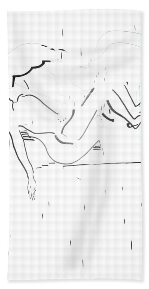 Jesus Beach Towel featuring the drawing Burial Of Jesus Christ by Gloria Ssali