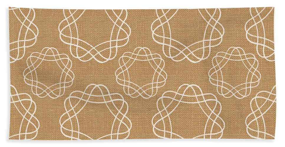 Burlap Beach Towel featuring the mixed media Burlap And White Geometric Flowers by Linda Woods