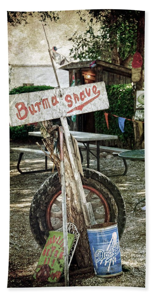 Shed Beach Towel featuring the photograph Burma Shave Sign by RicardMN Photography
