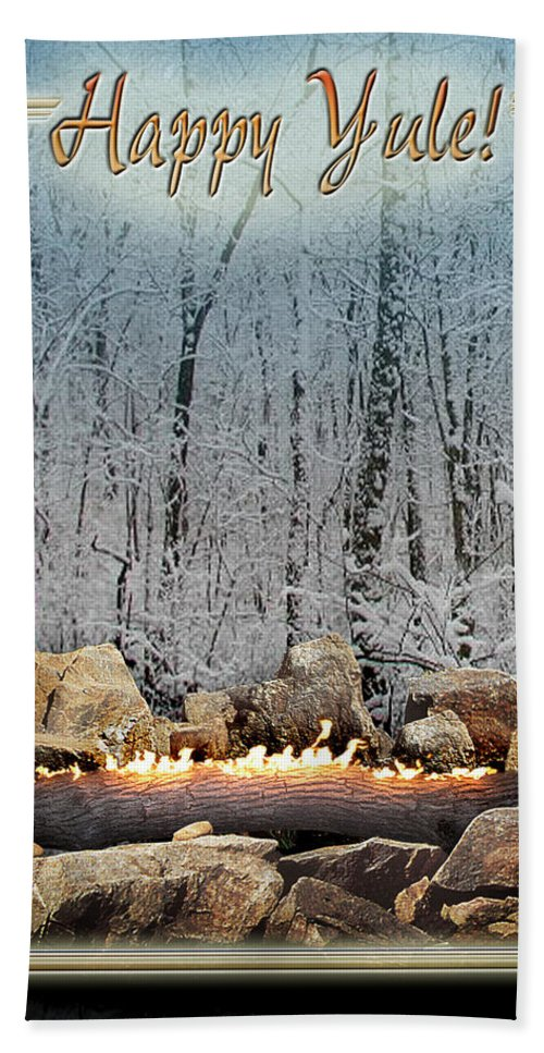 Yule Beach Towel featuring the digital art Burning Yule Log by Melissa A Benson