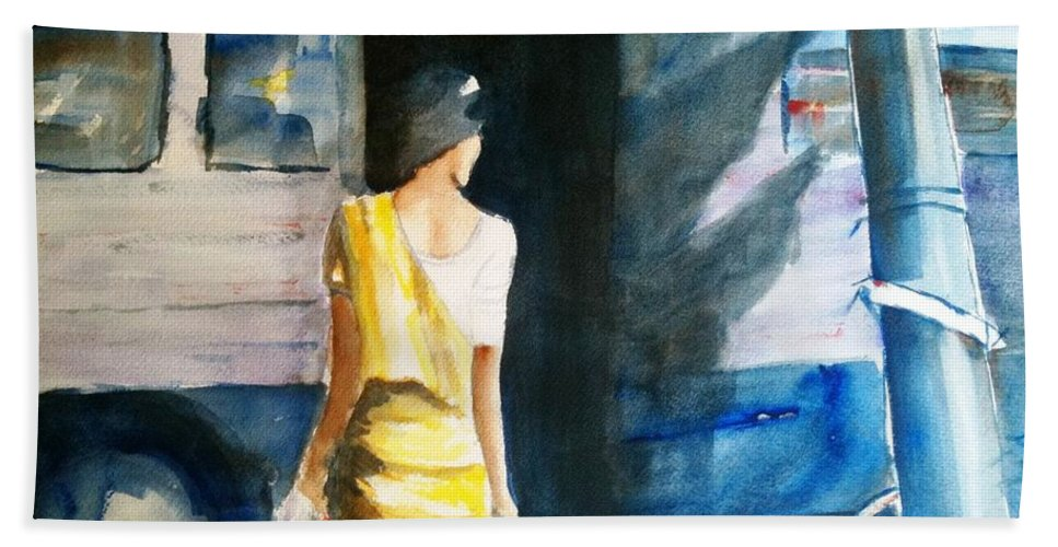 Woman Beach Towel featuring the painting Bus Stop - Woman Boarding The Bus by Carlin Blahnik CarlinArtWatercolor
