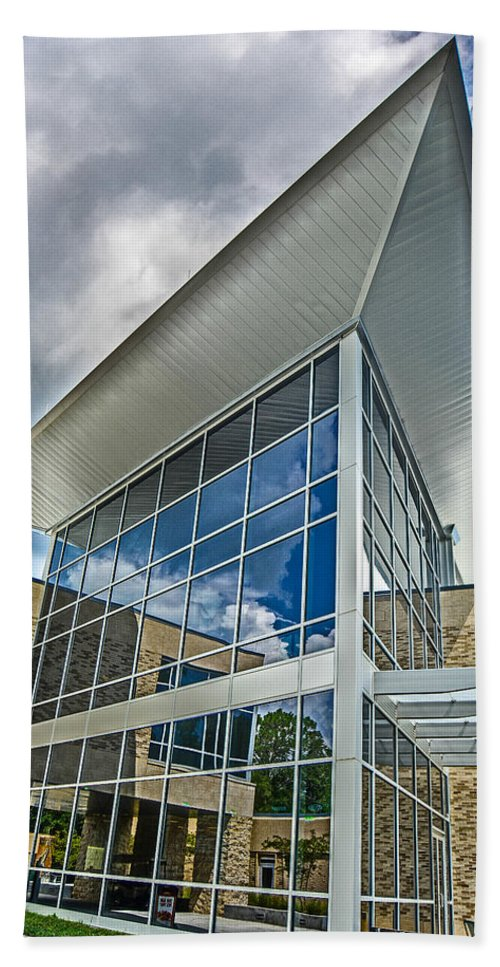 Uwf Beach Towel featuring the photograph Business Building by Jon Cody