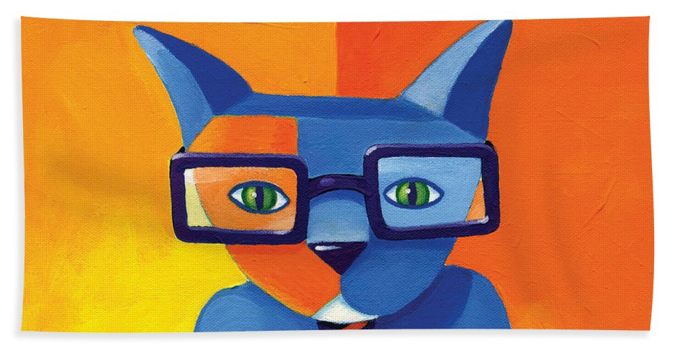 Cat Beach Towel featuring the painting Business Cat by Mike Lawrence