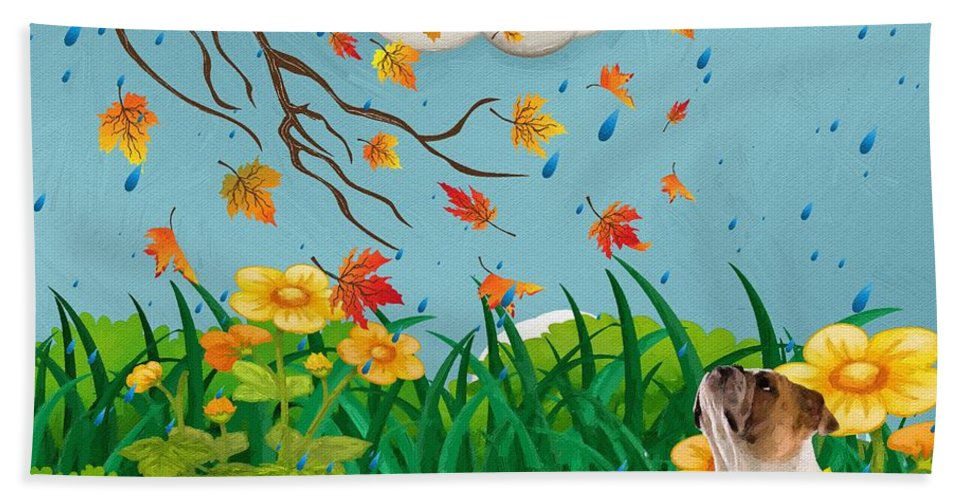 Liane Wright Beach Towel featuring the painting Buster And The Tree by Liane Wright