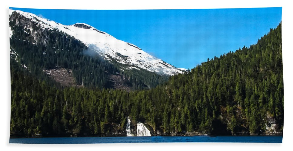 Mountains Beach Towel featuring the photograph Butedale Falls by Robert Bales