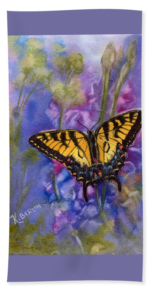 Butterfly Beach Towel featuring the painting Butterfly by Katherine Berlin