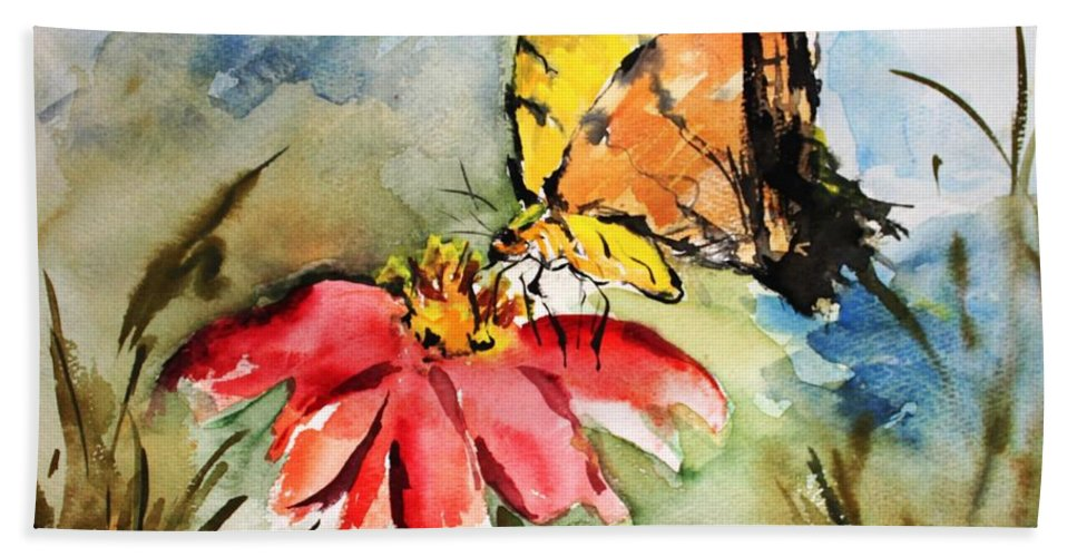 Butterfly Beach Towel featuring the painting Butterfly  by Mary Spyridon Thompson