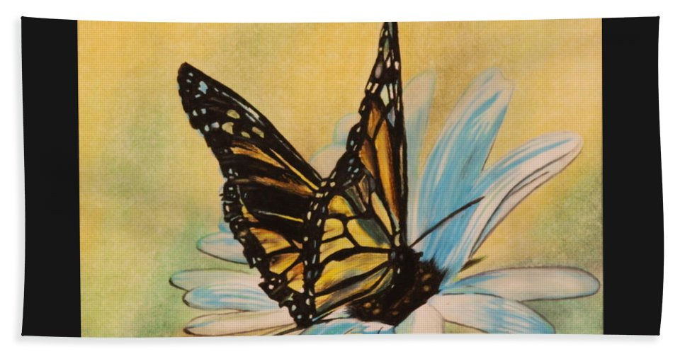 Butterly Beach Towel featuring the drawing Butterfly On Flower by Michelle Miron-Rebbe