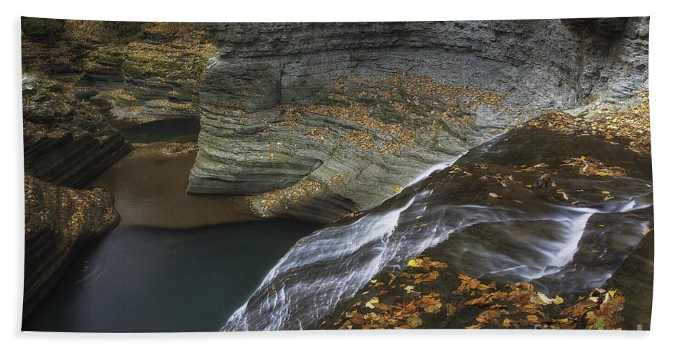 Michele Beach Towel featuring the photograph Buttermilk Falls In Autumn I by Michele Steffey