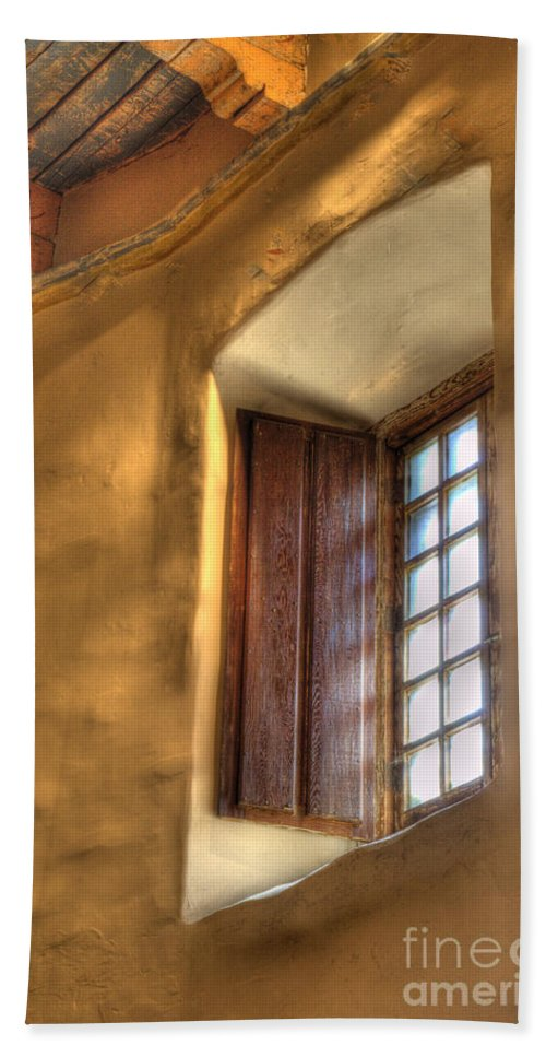 Mission San Diego De Alcala Beach Towel featuring the photograph By The Light Of The Window by Bob Christopher