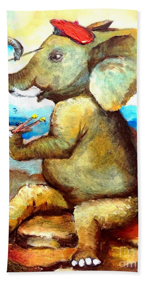 Elephants Beach Towel featuring the mixed media By Tom Kidd by Maria Leah Comillas