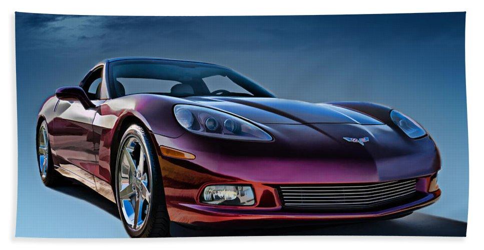 Chevrolet Beach Towel featuring the digital art C6 Corvette by Douglas Pittman