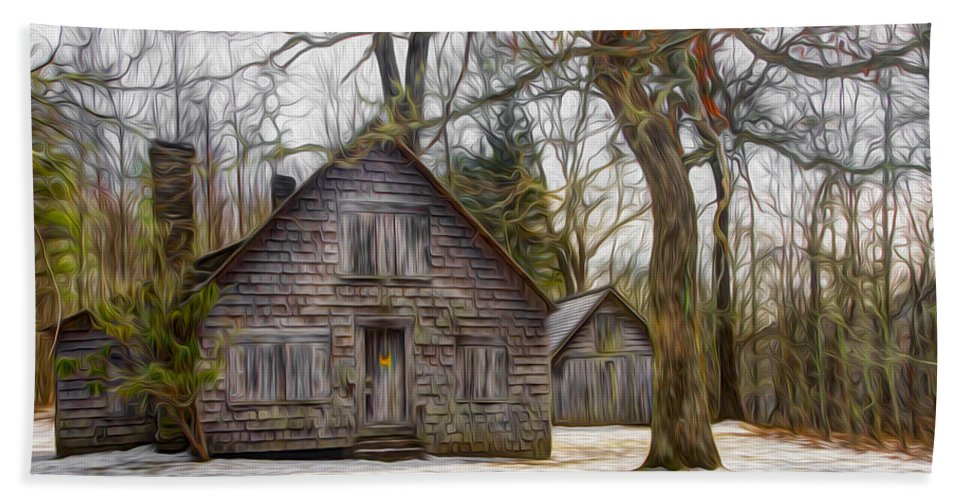 Architecture Beach Towel featuring the photograph Cabin Dream by Debra and Dave Vanderlaan