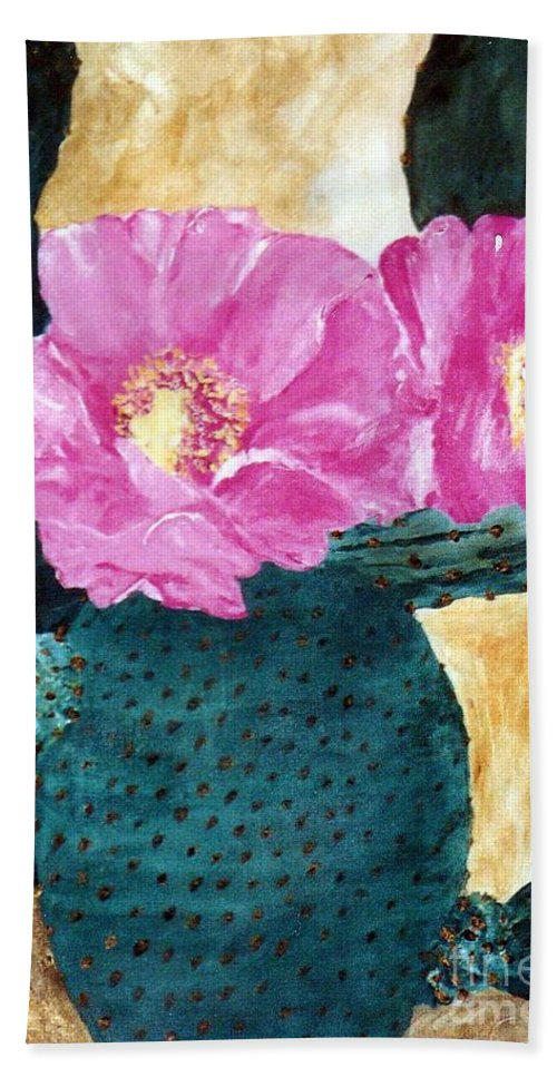Cactus Beach Towel featuring the painting Cactus And The Pink Flower by Graciela Castro