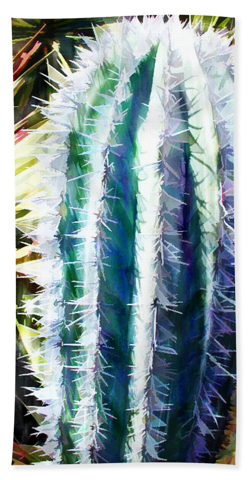 Cactus Beach Towel featuring the painting Cactus Pillar by Elaine Plesser