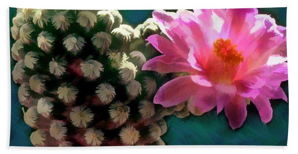Cactus Beach Towel featuring the painting Cactus With Pink Sunlit Bloom by Elaine Plesser
