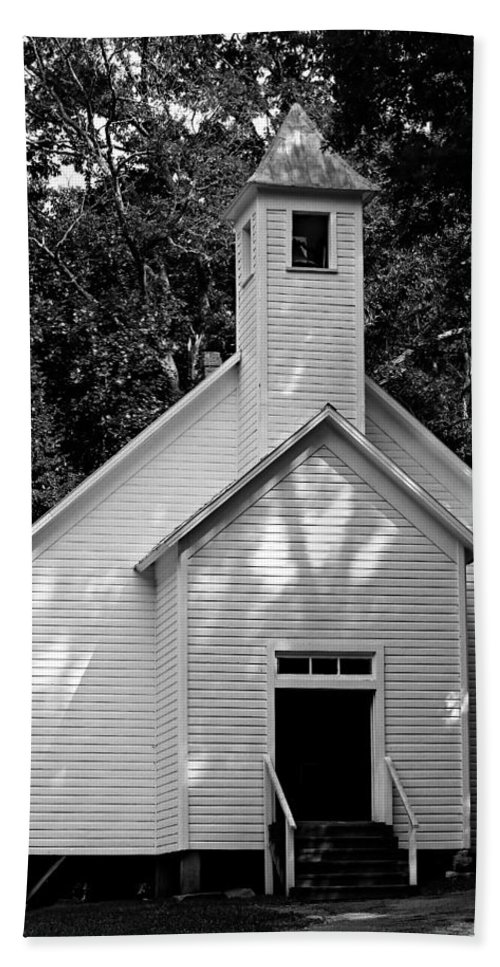 Great Smoky Mountains National Park Beach Towel featuring the photograph Cades Cove Missionary Baptist Church by Stephen Stookey