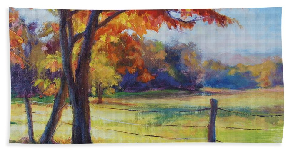 Cades Cove Beach Towel featuring the painting Cades Cove Morning by Laura Bates